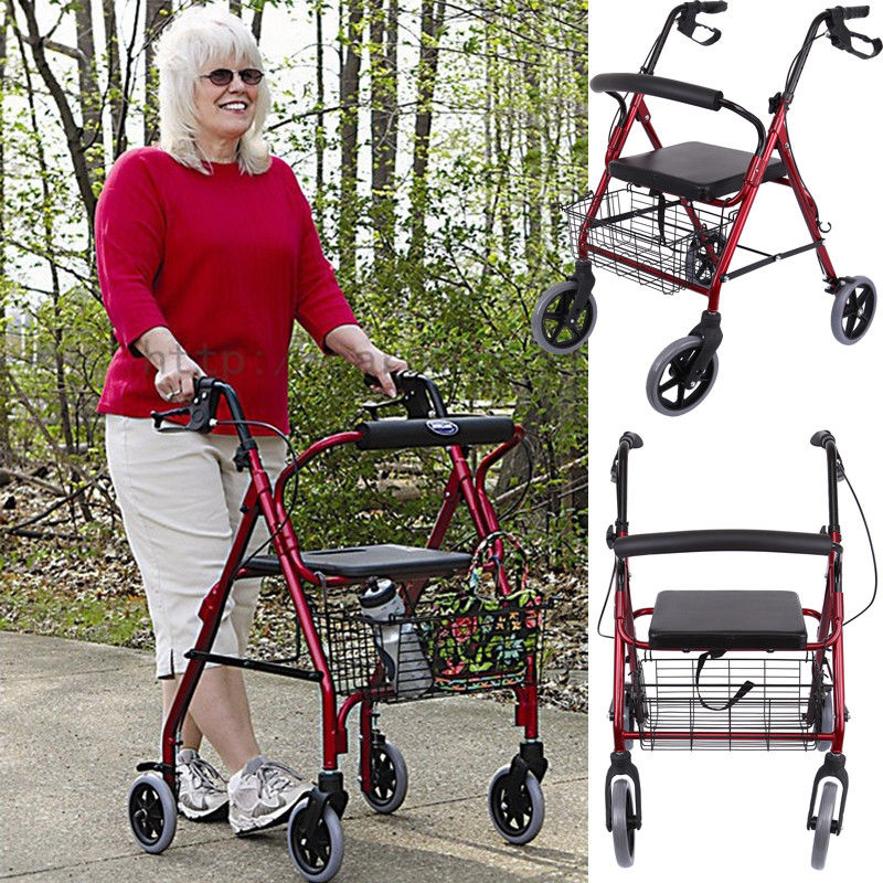 Folding Walk Aid Stick Rollator Backrest Walking Chair Stool Walker Help Cart For Elder disabled Braces Supports the elderly to help line device handrail help frame the old man walking aid walking cane chair stool