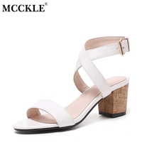 MCCKLE 2017 Women Shoes Sandals Mid Heels Open Toe Black Buckle Summer Woman Ankle Strap Fashion
