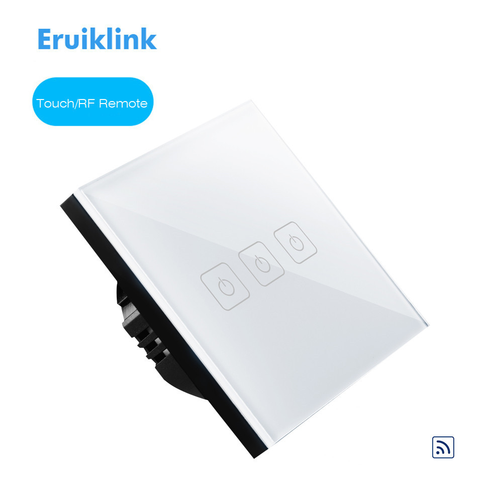 Eruiklink EU Type 3 Gang 1 Way Glass Touch Panel, RF433 Remote Control Switch, Fireproof Lighting Single FireWire Wall Switch smart home eu touch switch wireless remote control wall touch switch 3 gang 1 way white crystal glass panel waterproof power