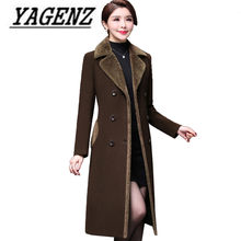 Double Breasted Wool Jacket Women's clothing 2018 Fall/Winter NEW Fashion Elegance Long Outerwear Slim Casual Warm Woolen Coats(China)