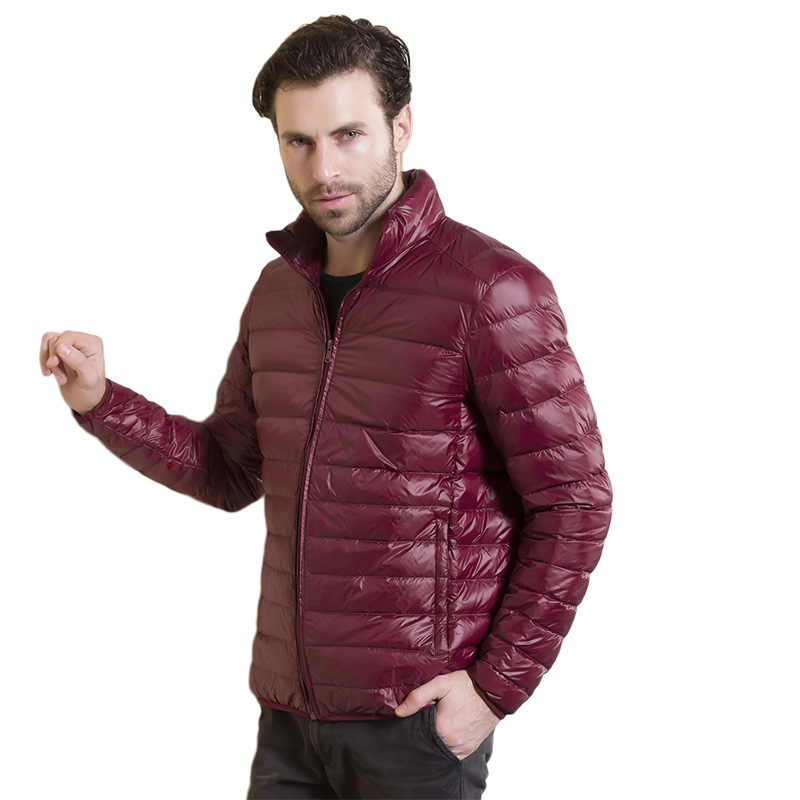 2018 Autumn Winter mens thin   down   jackets Casual Stand collar White duck   down     coat   male Solid color slim zipper outwear 3XL