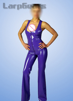 Purple Sleeveless Latex Catsuit With Front Zipper Rubber Body Suit Bodysuit Zentai