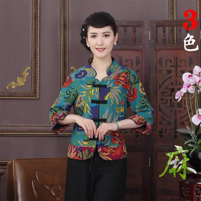 Promoción verde chino dama chaqueta chino tradición de la mujer de algodón de lino de tres cuartos chaquetas abrigos l xl xxl 3xl