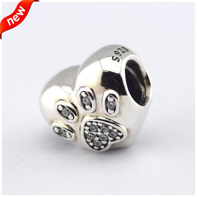 Fits Pandora Bracelet &Necklace Heart Paw Silver Beads With Cubic Zirconia New Original 925 Sterling Silver Charms DIY Wholesale