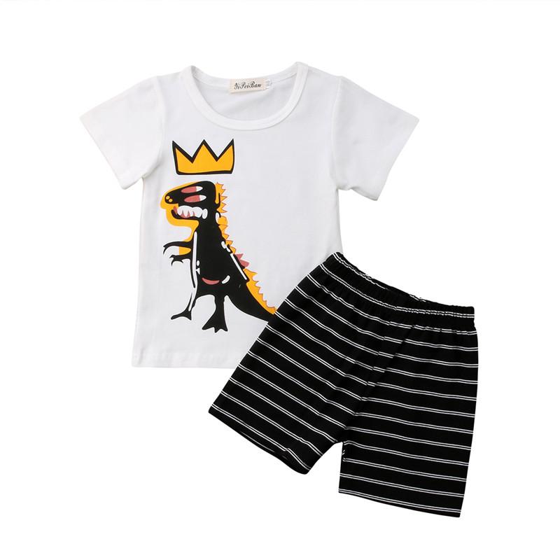2a26fe0404e 2018 childrens high quality fabric summer classic kids clothing cute  printed carton dinosaur white boy t shirt+Shorts kids