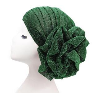 Image 4 - Muslim Women Turban India Beanie Hat Flower Stretch Arab Hat Head Scarf Wrap Cap Jersey Cover Bonnet Glitter Headwear Fashion