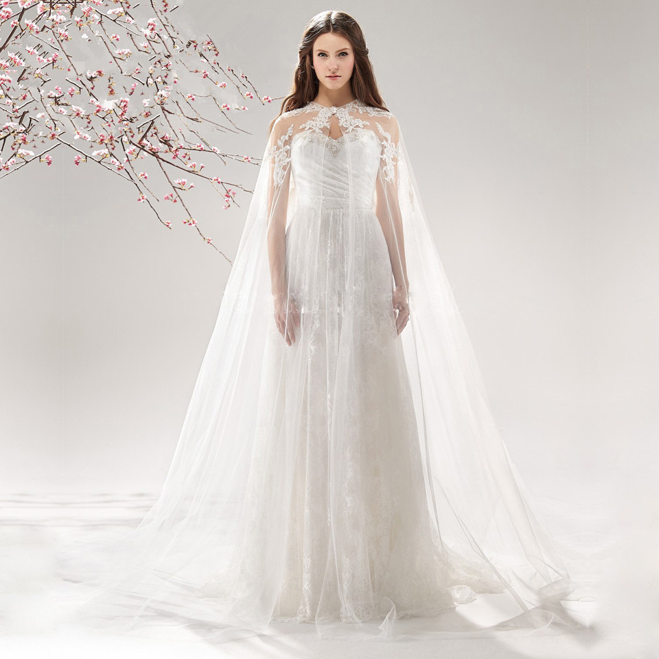 White Ivory Lace Wedding Cape Long Cloaks Mantle Jacket Shawl Wraps Floor Length Bridal Overlay For Gown In Jackets Wrap