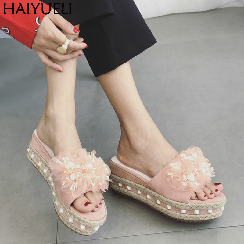 Pink Wedge Shoes Fashion Flowers Sandals Platform Wedges Sandals Summer Rope Weaving Platform Flip Flops Casual Wedge Sandals