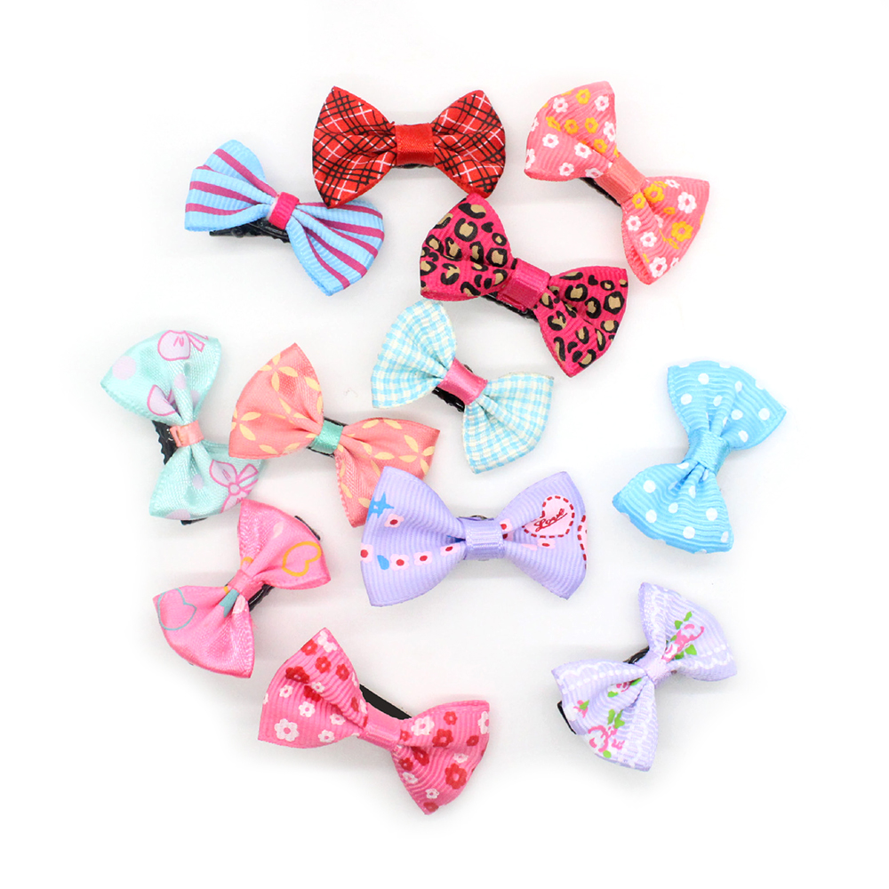 10Pcs/lot Bowknot Baby Girl Kids Mini Hair Clip Pin Hair Ribbon Bows Hairpin Accessories For Girls Hair Clips Hairclip Bow FZH