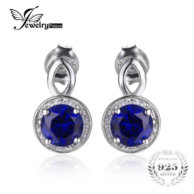 Jewelrypalace 4.8ct criado blue sapphire corte redondo de halo brincos sólido 925 brinco de prata para as mulheres finas jóias