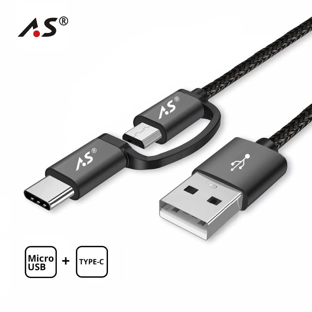 A.S 2 in 1 Micro USB Cable USB C Type-C Cable Fast Charging USB Type C Cable for Samsung Galaxy S9 S8 Note 8 Xiaomi Huawei QC3.0