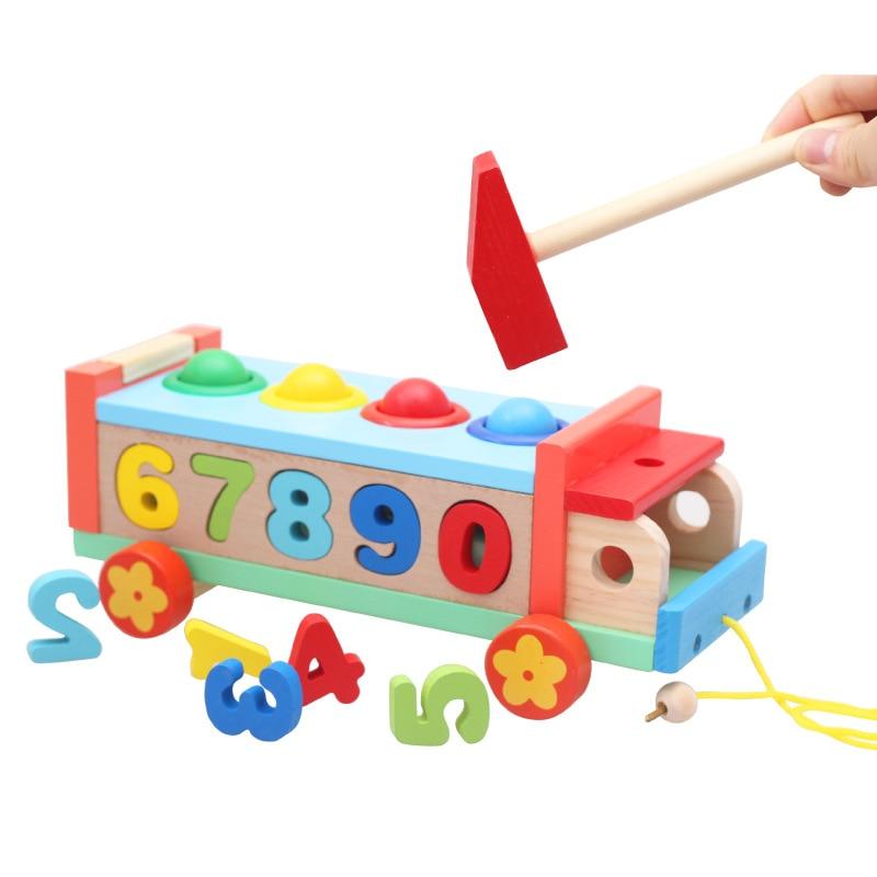 New Wooden Shape Matching Toys For Children Boys Train Models Building Blocks Montessori Game