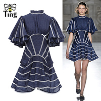 Tingfly 2019 Runway Designer Style Polka Dot Ruffles Short Sleeve Mini Dress Sexy Backless Party Dresses Lace Patchwork Vestidos