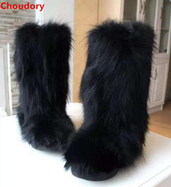 Free shipping black fox fur cover thick flat heels ankle boots for woman slip-on winter warm snow boots winter short boots