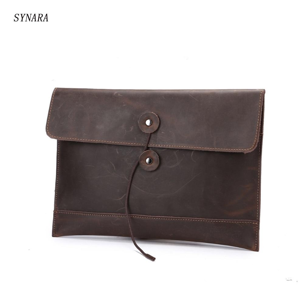 100% Genuine Leather Men Briefcase Casual Hasp Envelope Bag Business Men Messenger Bags Men Travel Bags A4 Documents Pouch