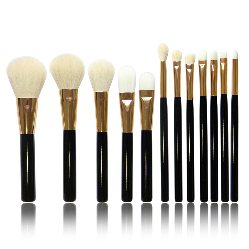 12Pcs/Set  Makeup Brush Set Goat Hair Wood Handle Foundation Blending Blush Eye Face Liquid Powder Cream Cosmetics Brushes Kits