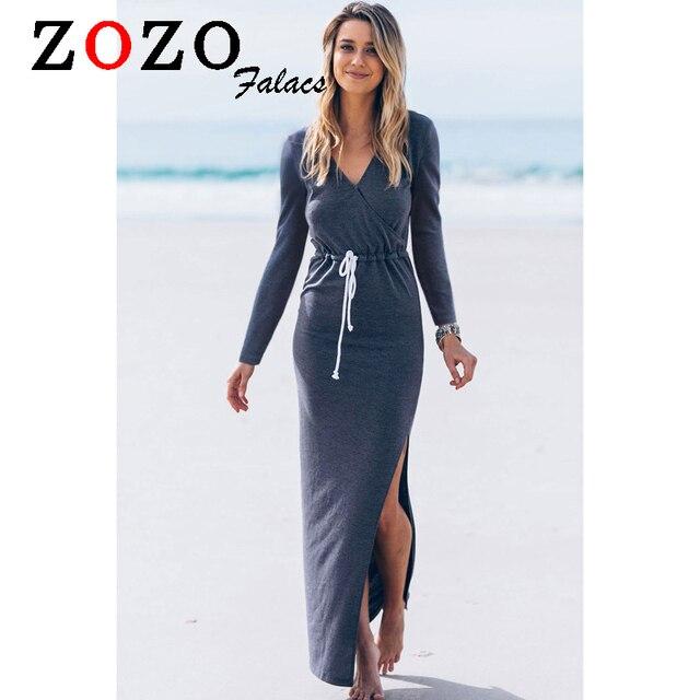 more photos 29241 a94cb US $24.97 |Falacs Zozo Autunno Inverno Donna Fashion Casual Vestiti Della  Boemia Allentato Solid Completa Manica Con Scollo A V Sexy Maxi Vestido ...