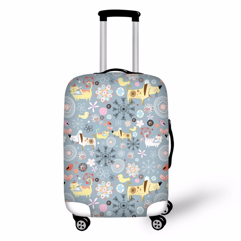 Flower Prints Suitcase Cover Protective Cover For Luggage With Zipper Luggage Cover Suit 18-30 Inch Luggage High Elasticity
