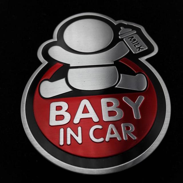 Pegatina de aluminio para bebés en coche para Hyundai Sonata I20 IX35 I30 IX45 Verna Solaris BMW SKODA OPEL LADA para TOYOTA AUDI a MAZDA