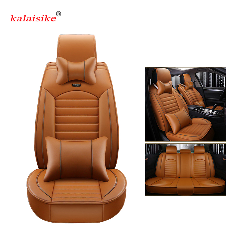 Kalaisike leather Universal Car Seat covers for Peugeot all models 206 307 407 207 2008 3008 508 208 308 406 301 607 car styling car styling projector led fog lights with cutting line lens xenon white 12v off road for peugeot 2008 3008 207 301 307 308 508