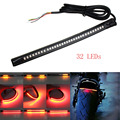 2x Motorcycle Flexible Strip Tail Brake Stop Turn Signal License Plate Light Integrated 3528 Pasted 32 LED Red Amber Color Truck