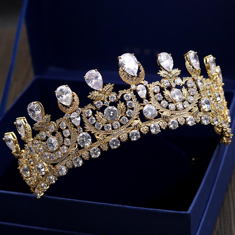 Здесь можно купить  Luxurious Cubic Zirconia Crown Tiara AAA Zircon Stone Baroque Queen Coronet Headband Hair Jewelry Wedding Party Headpiece Gifts  Ювелирные изделия и часы