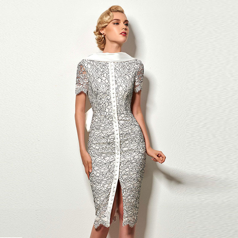 Tanpell vintage   cocktail     dress   scoop short sleeves knee length sheath gown women party formal custom lace   cocktail     dresses