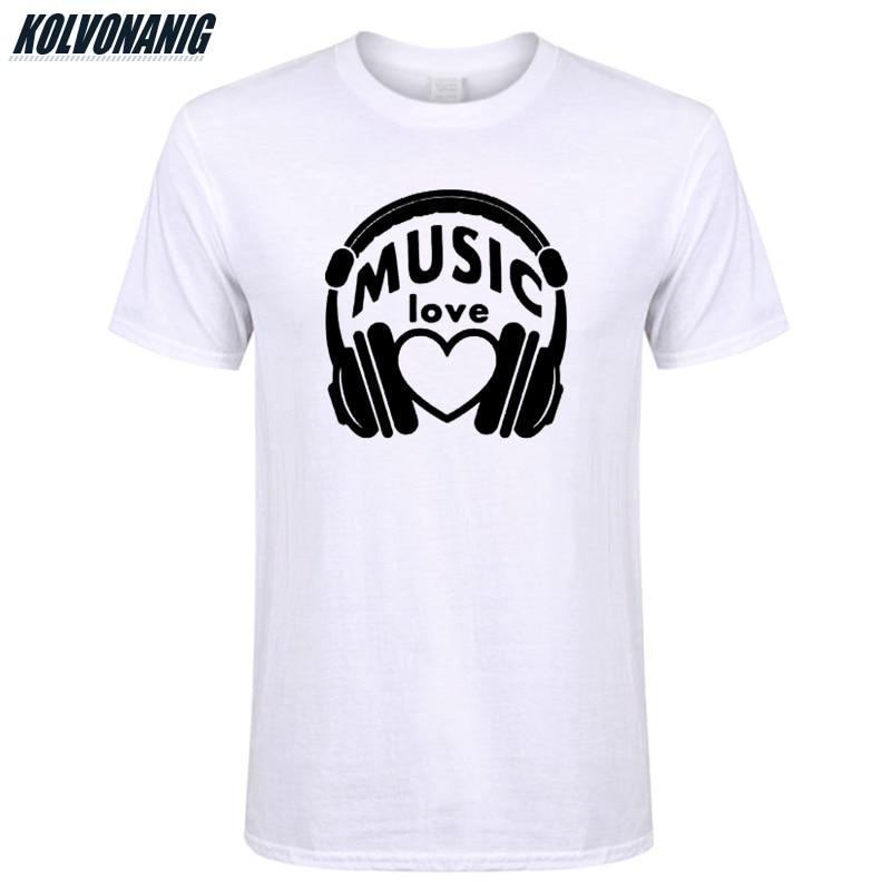 KOLVONANIG Headphone Love Music Headset Print T Shirts Men Cotton O Neck Short Sleeved High Quality Hip Hop Men 39 s T Shirt Tops in T Shirts from Men 39 s Clothing