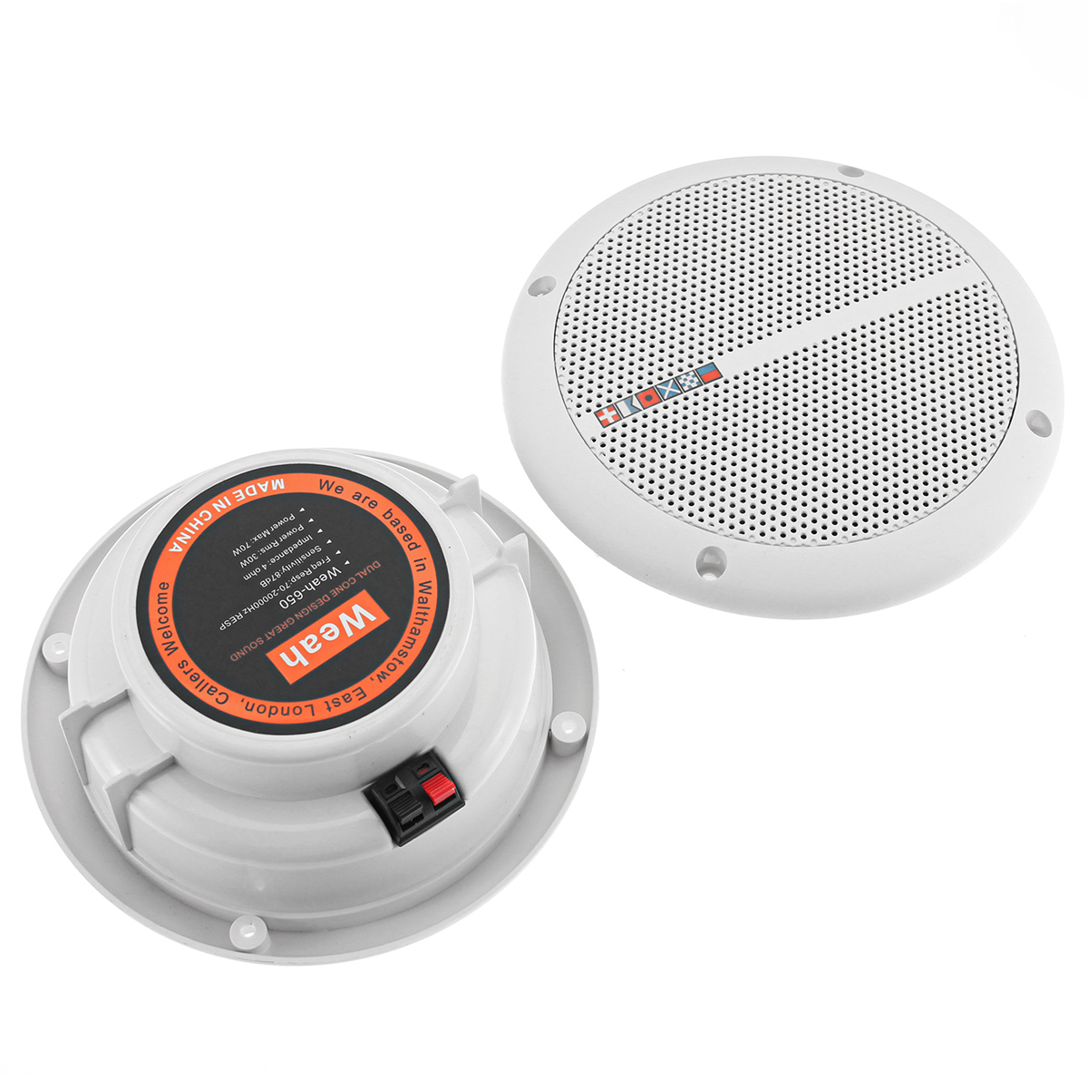 2Pcs Ceiling Speaker Systems Waterproof 2 Way Mount Home Background Loundspeaker Amplifier In Wall/Boat/Car/Marine Music Player