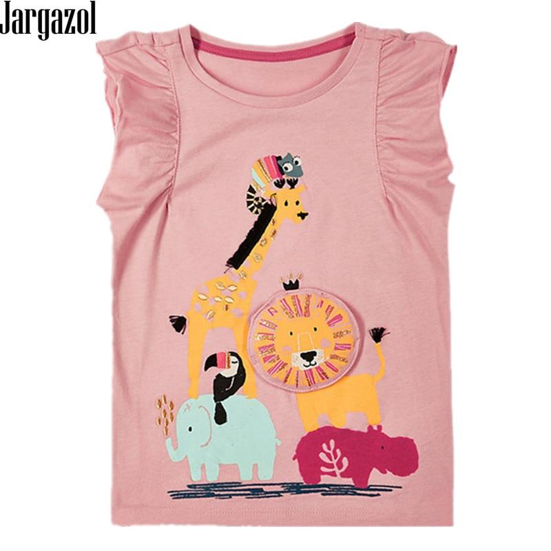 Jargazol Summer Top Fashion Tshirt Brand Girls Short Sleeve T Shirt Animal Cartoon Printing Lovely Cute Toddler Kids Clothes