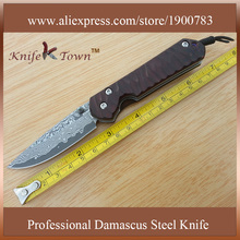 DS025  2016 popular damascus steel  knife sandal wood handle pocket clip knife hunting knife camping knife