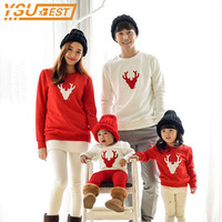 New 2017 Christmas Matching Outfits Clothing Family Look Mom Dad Baby Long Sleeve Cotton T Shirts