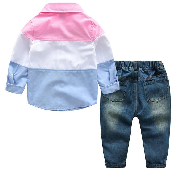 Roupa dos miúdos 2018 Novas Crianças Outono Conjunto de Roupas de Manga Longa Meninas T-Shirt + Calças Meninos Da Criança Roupas Conjuntos Roupas formais Terno