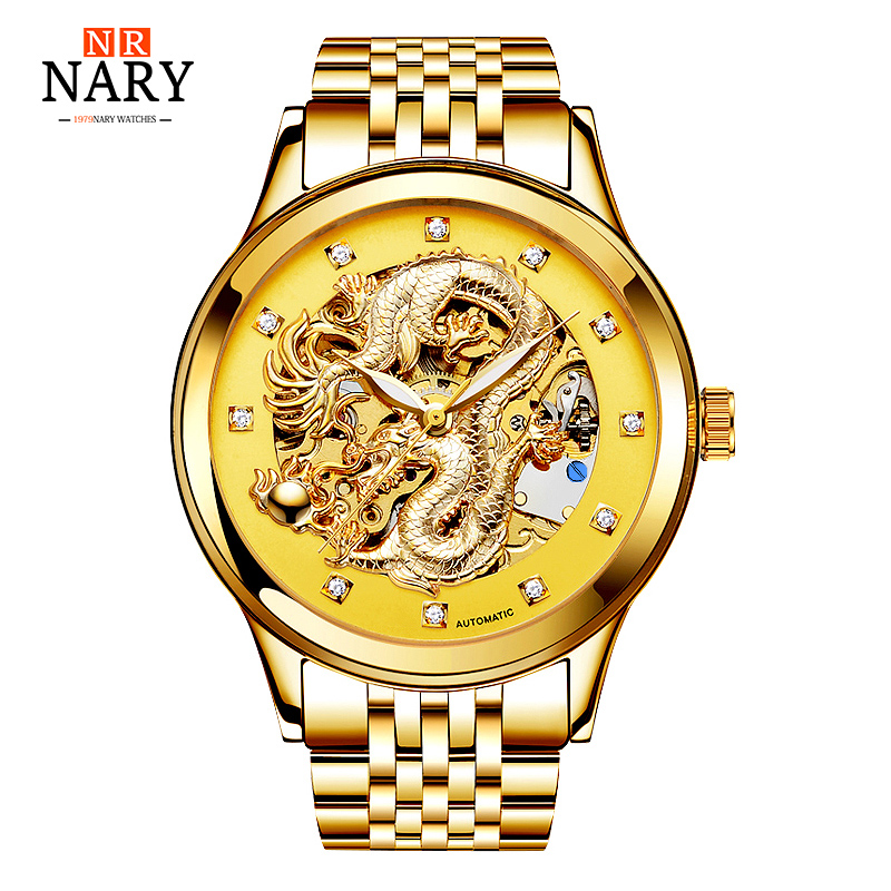 Brand NARY Gold Dragon Skeleton Automatic Mechanical Watches For Men Wrist Watch Steel Strap Gold Clock 50m Waterproof Mens original binger mans automatic mechanical wrist watch date display watch self wind steel with gold wheel watches new luxury