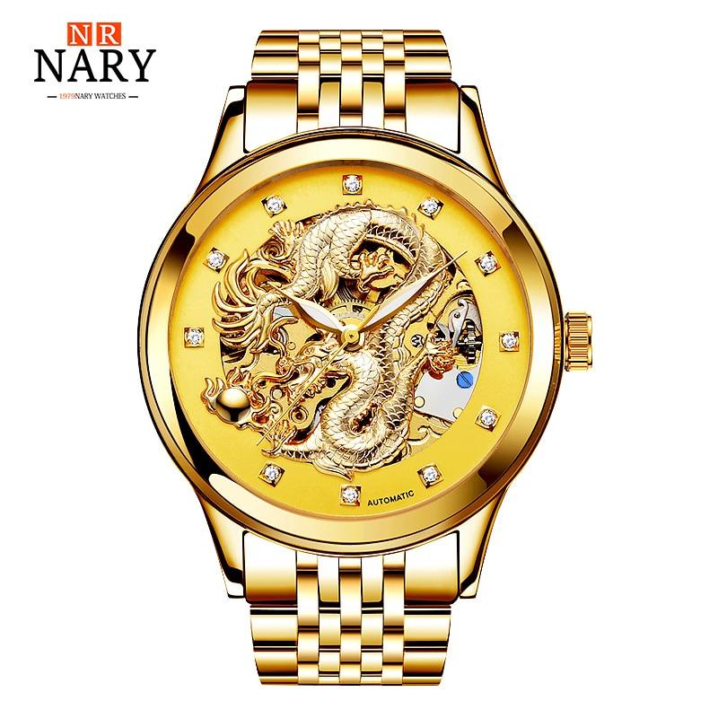 Brändi NARY kuldne draakon skelett automaatne mehaanilised käekellad meestele käekell terasest rihmaga kuldkell 50 m veekindlad mehed