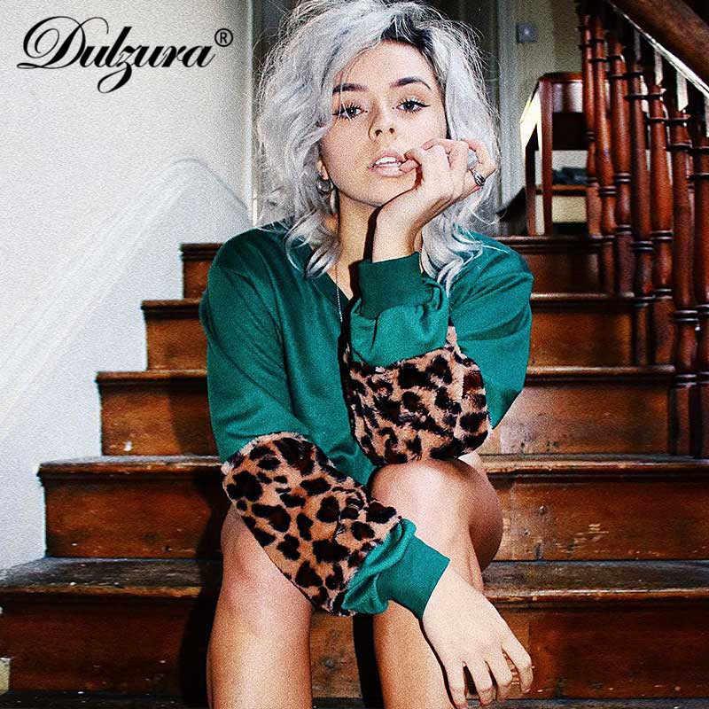 Dulzura women s shirt pullover splice long sleeve leopard print crop top  2018 autumn winter clothes streetwear 7b765c7649d1