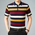 2016 summer new men's short sleeved polo shirts high-end fashion stripe polos Lapel thin sleeveless shirt