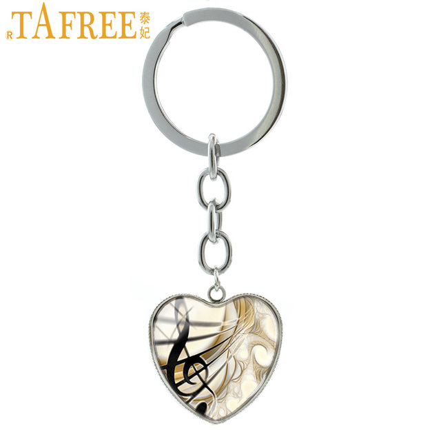 TAFREE Music Treble Clef Keychain Elegant Trendy Metal Key Chain