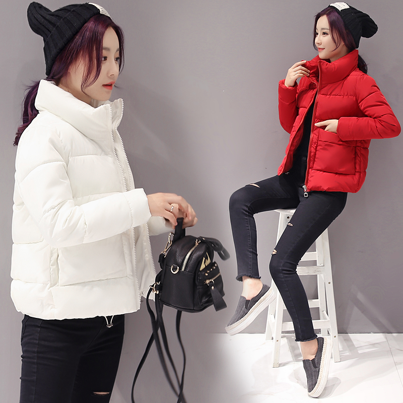 2019 Jacket Women Winter Fashion Warm Thick Solid Short Style Cotton Padded Parkas Coat Stand Collar XL XXL