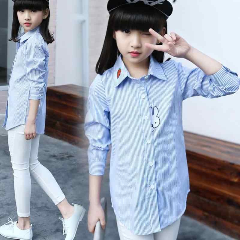 b01da476ce0 Детская одежда 2018 Новинка весны школьная блуза для девочек Детская  Костюмы хлопковая рубашка с длинными рукавами