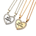 best friends forever letter pendant necklace charms matching heart 2 color jewelry necklace women clothing accessories wholesale