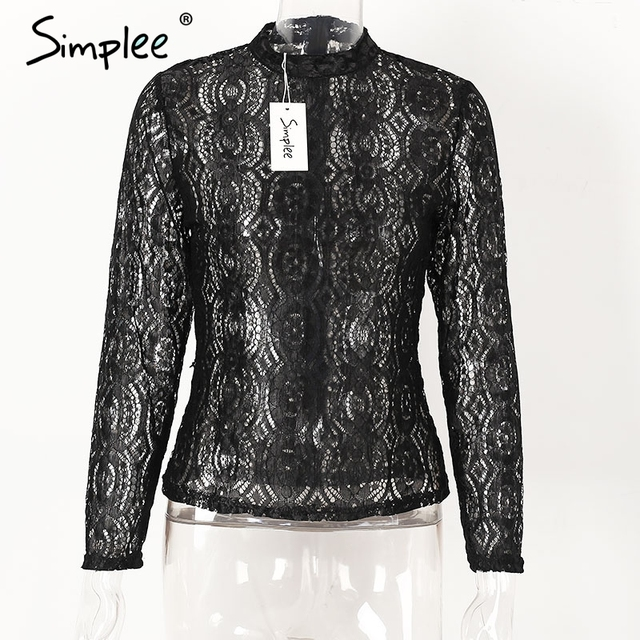 Simplee Sexy transparent lace blouse shirt Elegant long sleeve cool blouse women summer tops Hollow out blusas 2017