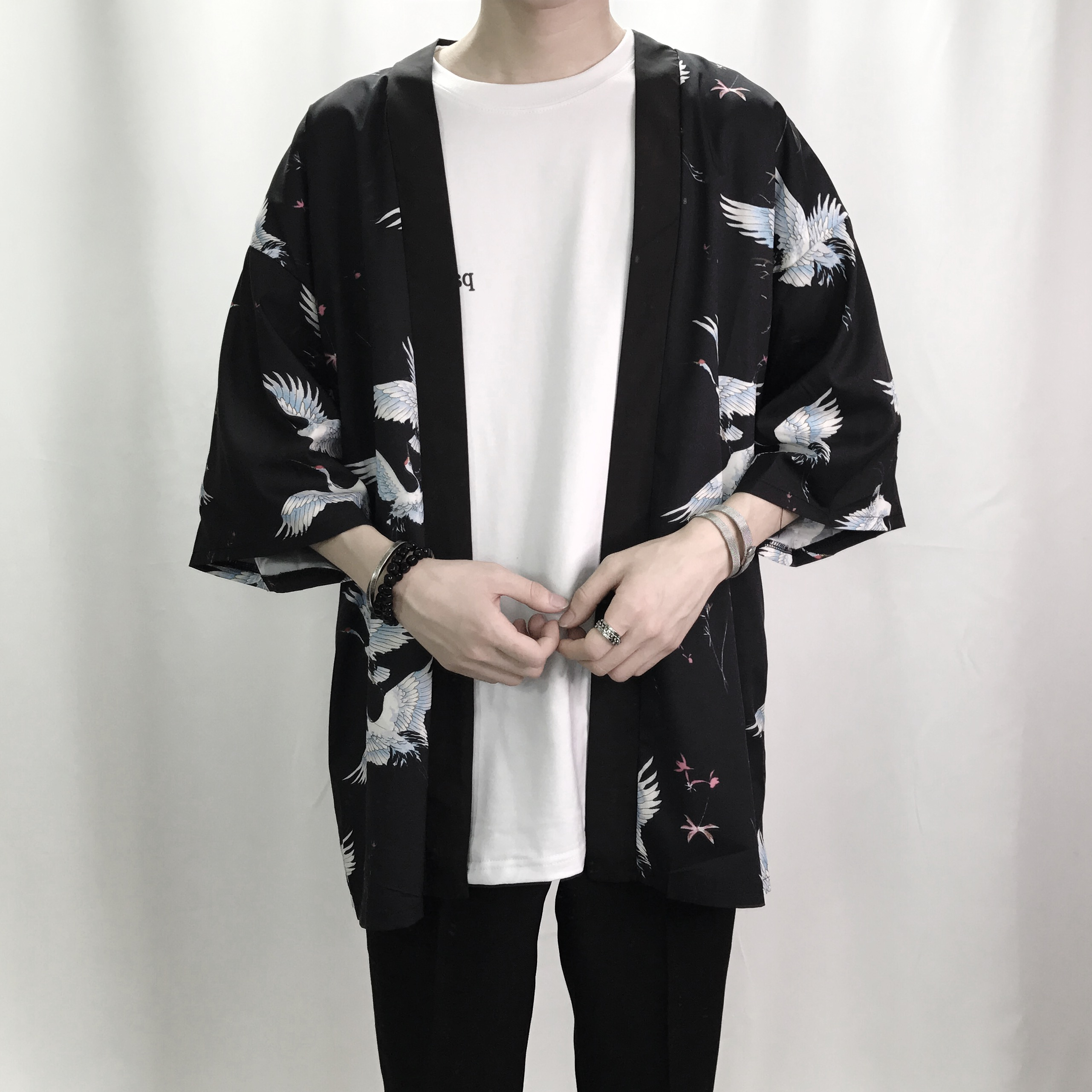Retro Printing Fashion Men Kimono Cardigan Shirt Harajuku Street ...