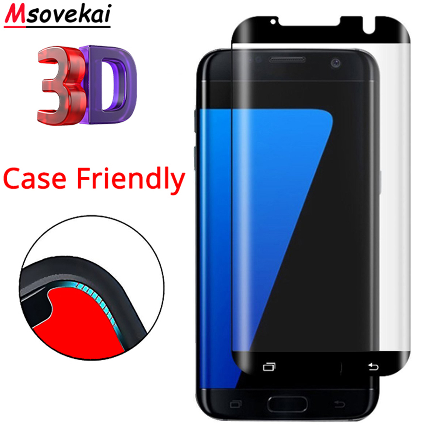 9H 3D Curved Case Friendly Tempered Glass For Samsung Galaxy S7 edge G935F Fit Screen Protector Not Full Cover