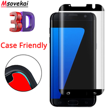 hot deal buy 9h 3d curved case friendly tempered glass for samsung galaxy s7 edge g935f case fit screen protector for s7 edge not full cover