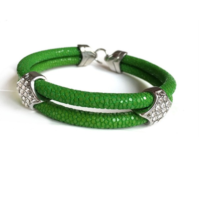 Beichong Fashion 5MM Green Thailand Stingray Leather Silver Stainless Steel Buckle Bracelet Bangle FIT Watch for Gift