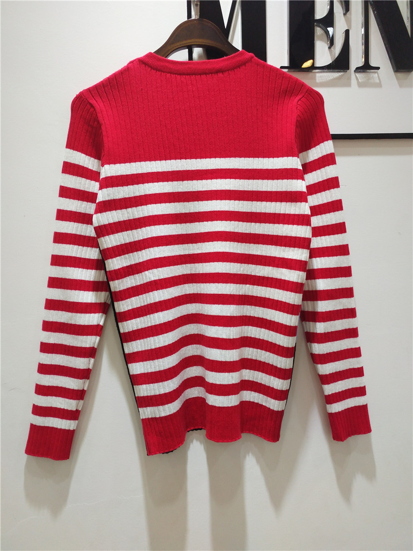 2017 Women Sweaters And Pullovers Red And White Striped Sweater ...