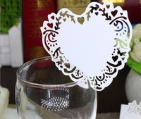 Type_2 100 stks Hot Hollow Hart Papier Plaats Escorte Cup Kaart Wijnglas Kaart Papier voor Wedding Par Bruiloft gunsten
