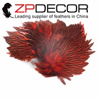 NEW! ZPDECOR Feathers 2017 Gorgeous 15 20cm(6 8inch) Red Jungle Cock Cape Complete Skin Pelt With Feather for Clothes Decor