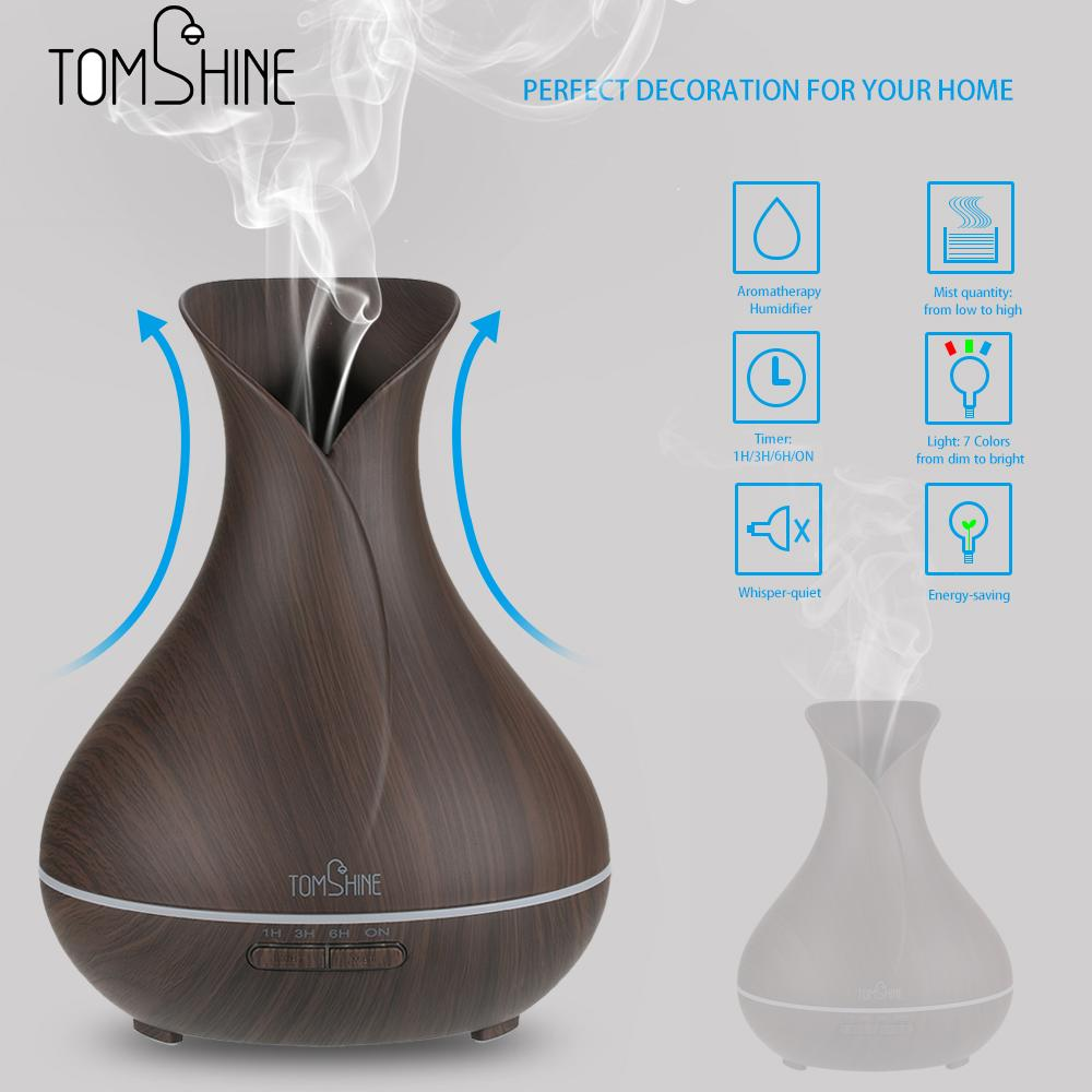 Aroma night lamps - Tomshine Ultrasonic Aroma Essential Oil Diffuser 400ml Mist Air Humidifier Night Lamp With 7 Colors Changing